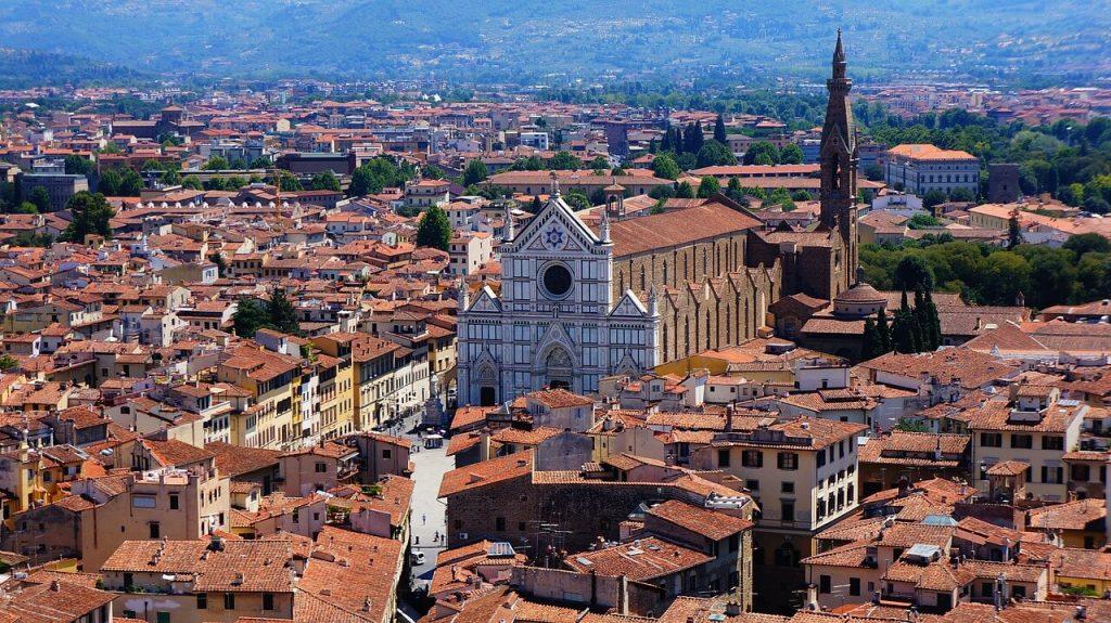 Santa Croce Florence vue du ciel